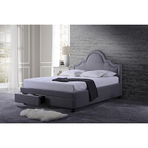 Baxton Studio Brisbane Modern Fabric Platform Storage Bed