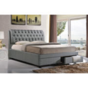 Baxton Studio Ainge Contemporary Button-Tufted Upholstered Storage Bed