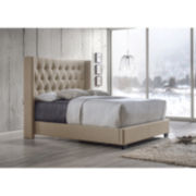 Baxton Studio Katherine Wing-Back Upholstered Bed