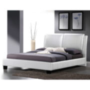 Baxton Studio Sabrina Modern Bed with Overstuffed Headboard