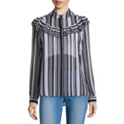 Belle + Sky™ Long-Sleeve Ruffled Button-Down Blouse