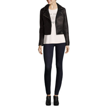 jcpenney.com | BELLE + SKY™ Faux-Leather Moto Jacket, Twist Screen Tee or Zipper Skinny Jeans