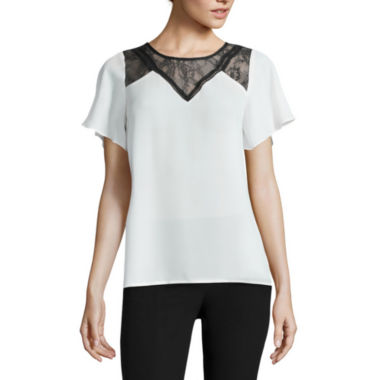 jcpenney.com | Worthington® Short-Sleeve Pleat Neck Lace Blouse