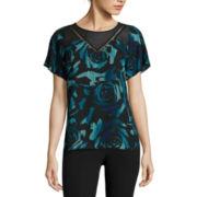 Worthington® Short-Sleeve Lace Yoke Blouse - Tall