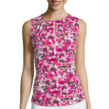jcpenney.com | Liz Claiborne® Sleeveless Pleat Neck Top - Tall