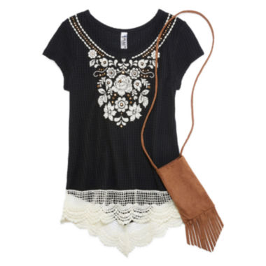 jcpenney.com | Beautees Short-Sleeve Top with Puff Embroidery and Lace Hem with Faux Suede Cell Phone Pouch - Girls 7-16