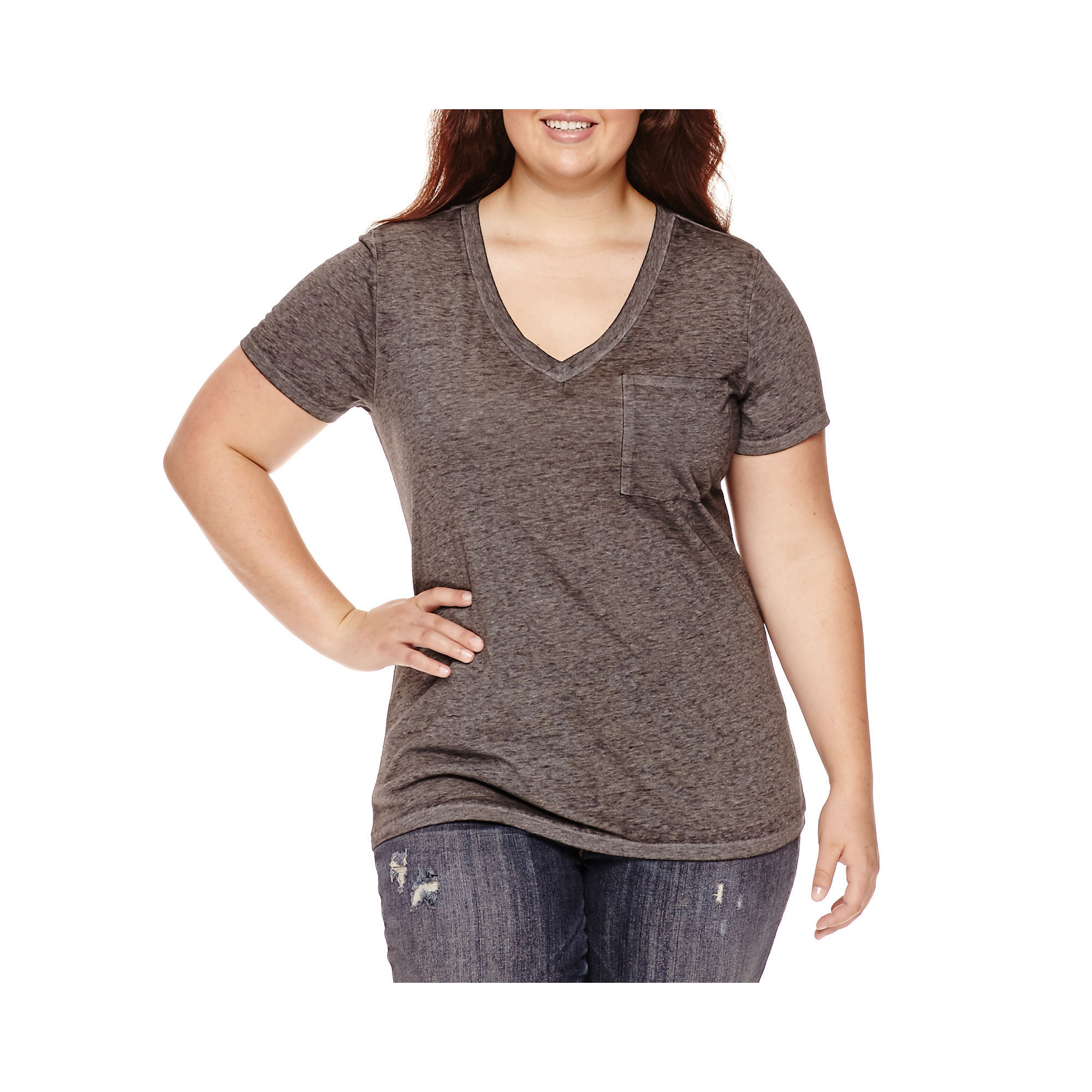 Arizona Short-Sleeve Burnout Vee Pocket Tee - Juniors Plus plus size,  plus size fashion plus size appare
