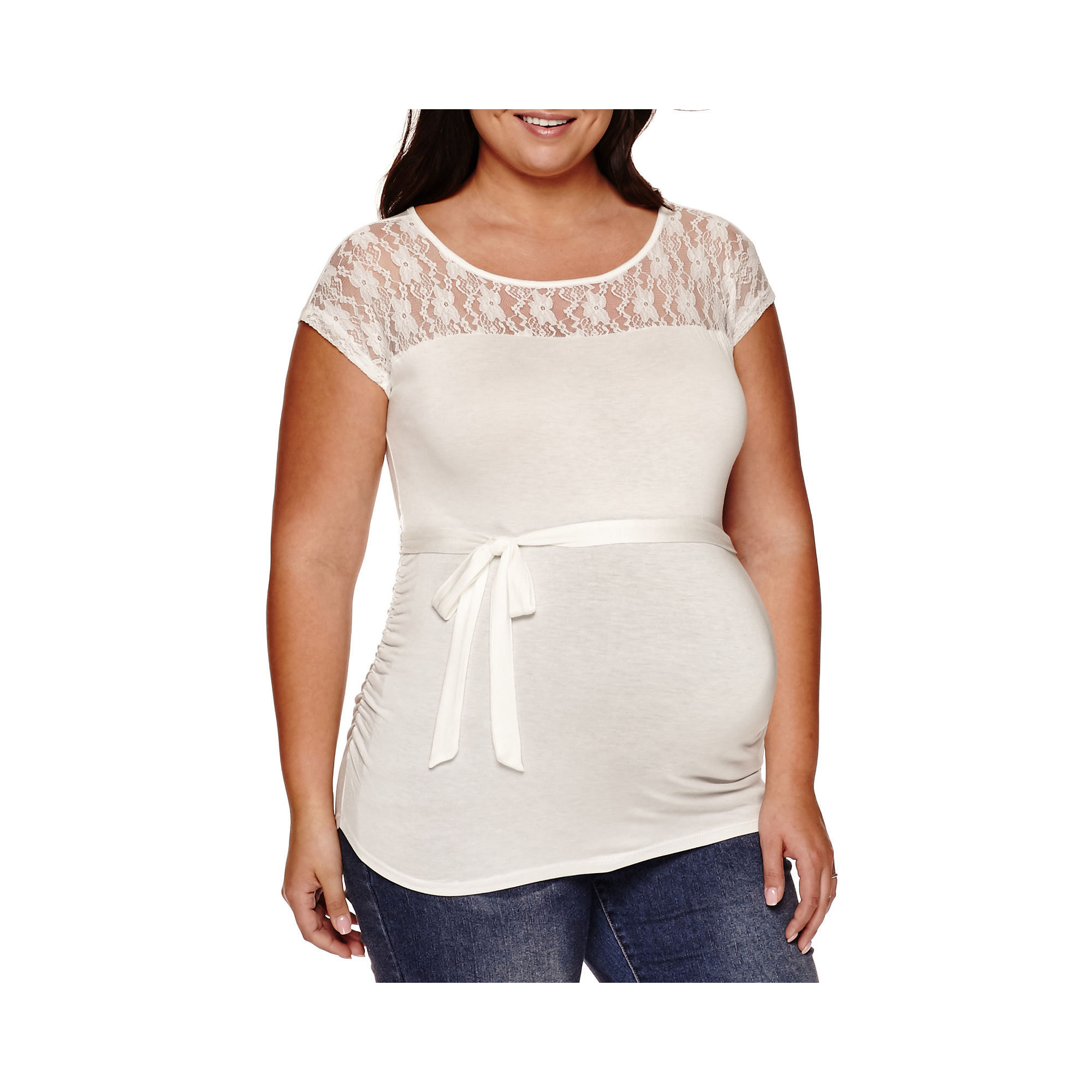 Maternity Sleeveless Lace-Yoke Tee - Plus plus size,  plus size fashion plus size appare