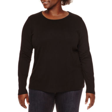 jcpenney.com | St. John's Bay® Long-Sleeve Crewneck Top - Plus