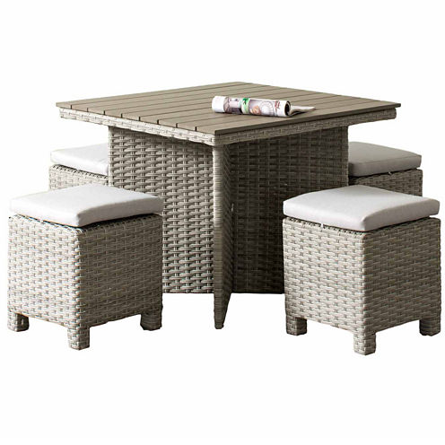 CorLiving Brisbane Weather Resistant Resin Wicker 5-pc. Patio Dining Set