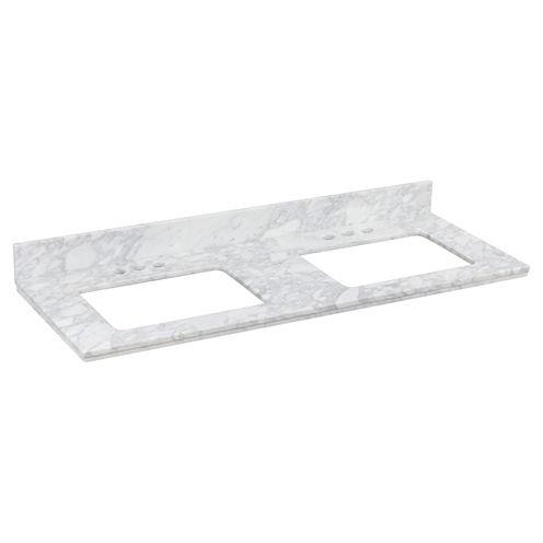 American Imaginations Shaker Rectangle Countertop4-in. o.c. Left-Right Faucet Quartz Top
