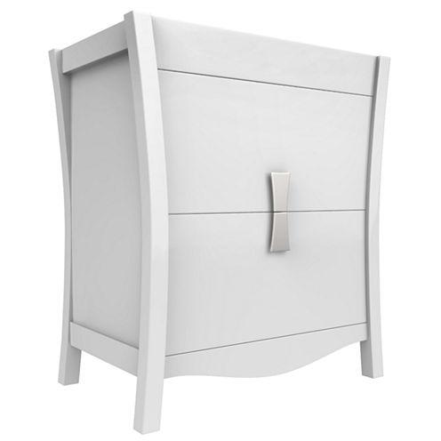American Imaginations Bow Rectangle Floor Mount 29.5-in. W x 18-in. D Modern Birch Wood-Veneer Vanity Base Only In White