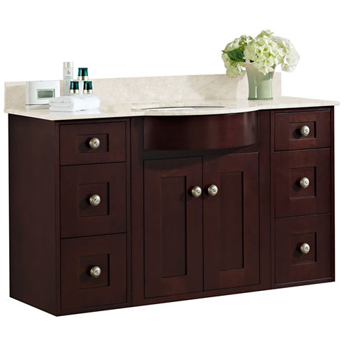 American Imaginations 49-in. W x 21-in. D Traditional Birch Wood-Veneer Vanity Base Only In Walnut