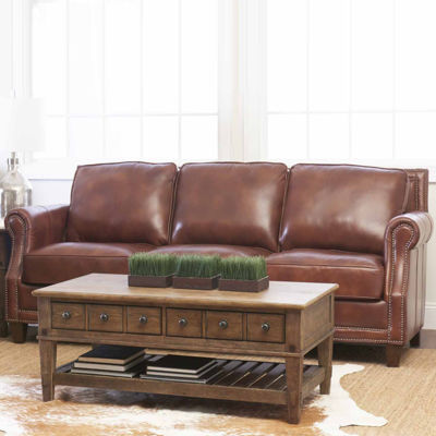 Yule Roll Arm Leather Sofa Jcpenney