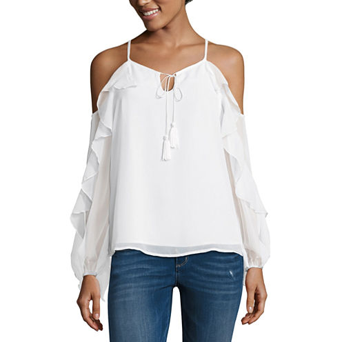 T.D.C Long Sleeve Ruffle Cold Shoulder Top