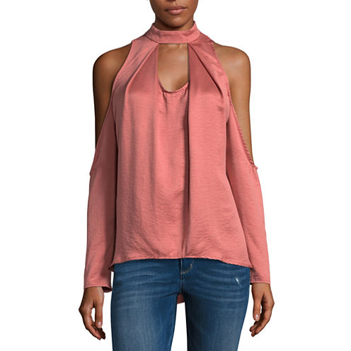 T.D.C Long Sleeve Satin Cold Shoulder Top