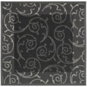 Courtyard Border Scrolls Indoor/Outdoor Square Rugs