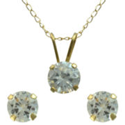 Girls Cubic Zirconia Pendant & Stud Earrings Set