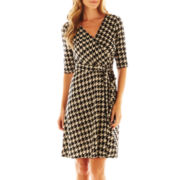 Studio 1® 3/4-Sleeve Faux-Wrap Houndstooth Dress