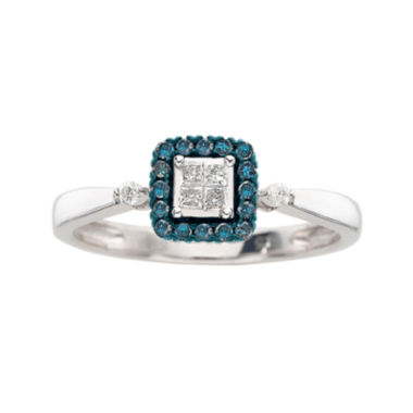 jcpenney.com | ¼ CT. T.W. White & Color-Enhanced Blue Diamond Promise Ring