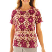 Alfred Dunner® Circle Oaks Medallion Accordion Knit Top