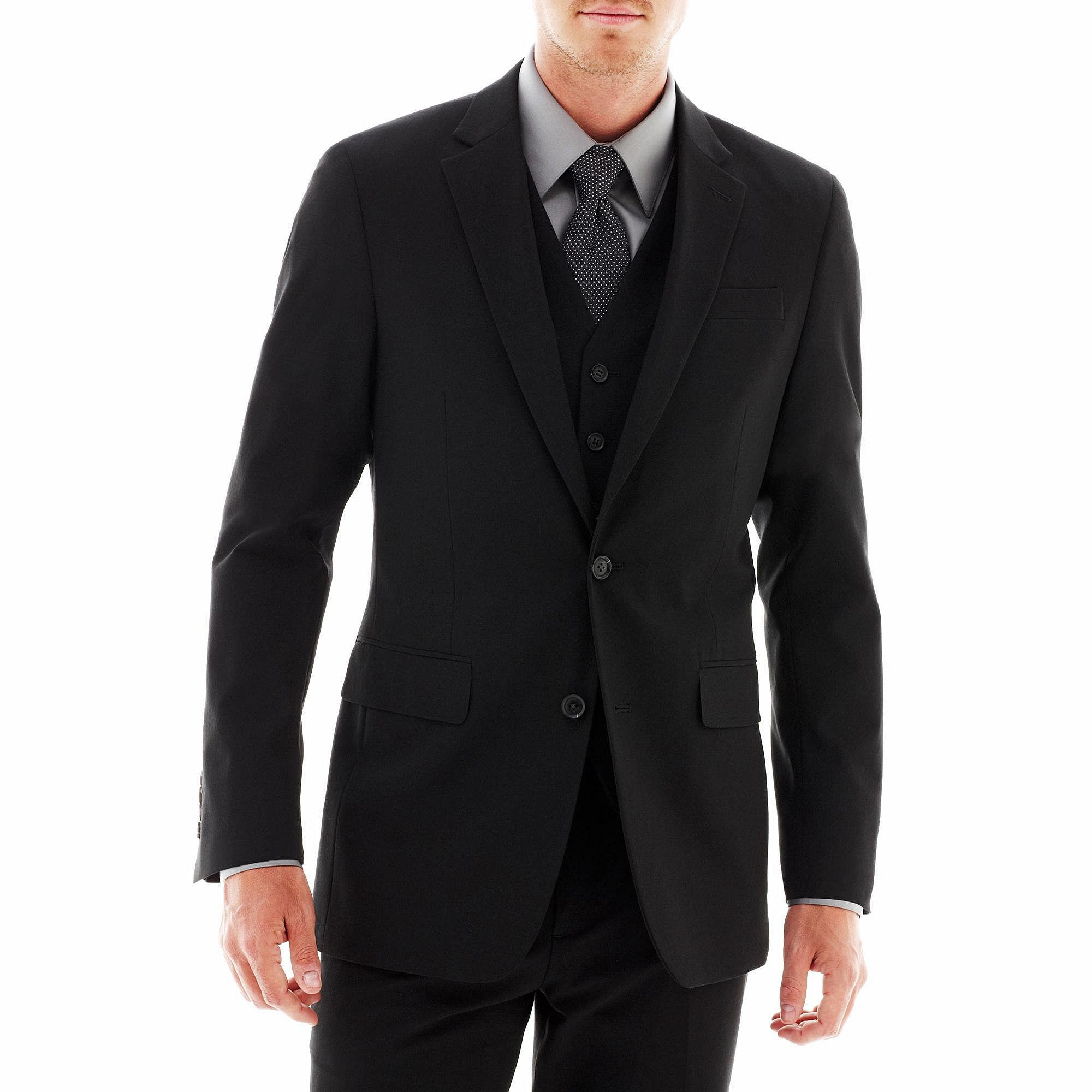 JF J. Ferrar Stretch Gabardine Suit Jacket - Super Slim plus size,  plus size fashion plus size appare