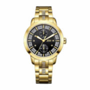 JBW Womens Black Gold Tone Bracelet Watch