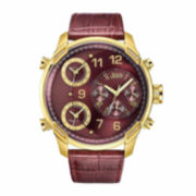 JBW Mens Red Rose Goldtone Bracelet Watch