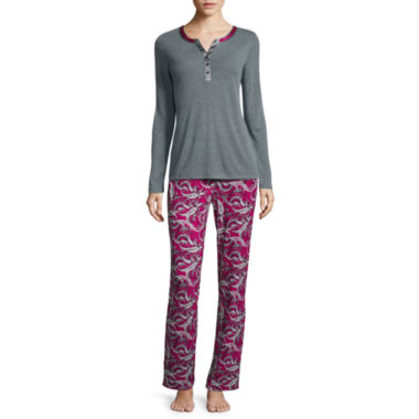 jcpenney.com | Liz Claiborne® Long-Sleeve Henley Top and Pants Pajama Set