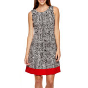 Alyx® Sleeveless Abstract-Print Textured Fit-and-Flare Dress
