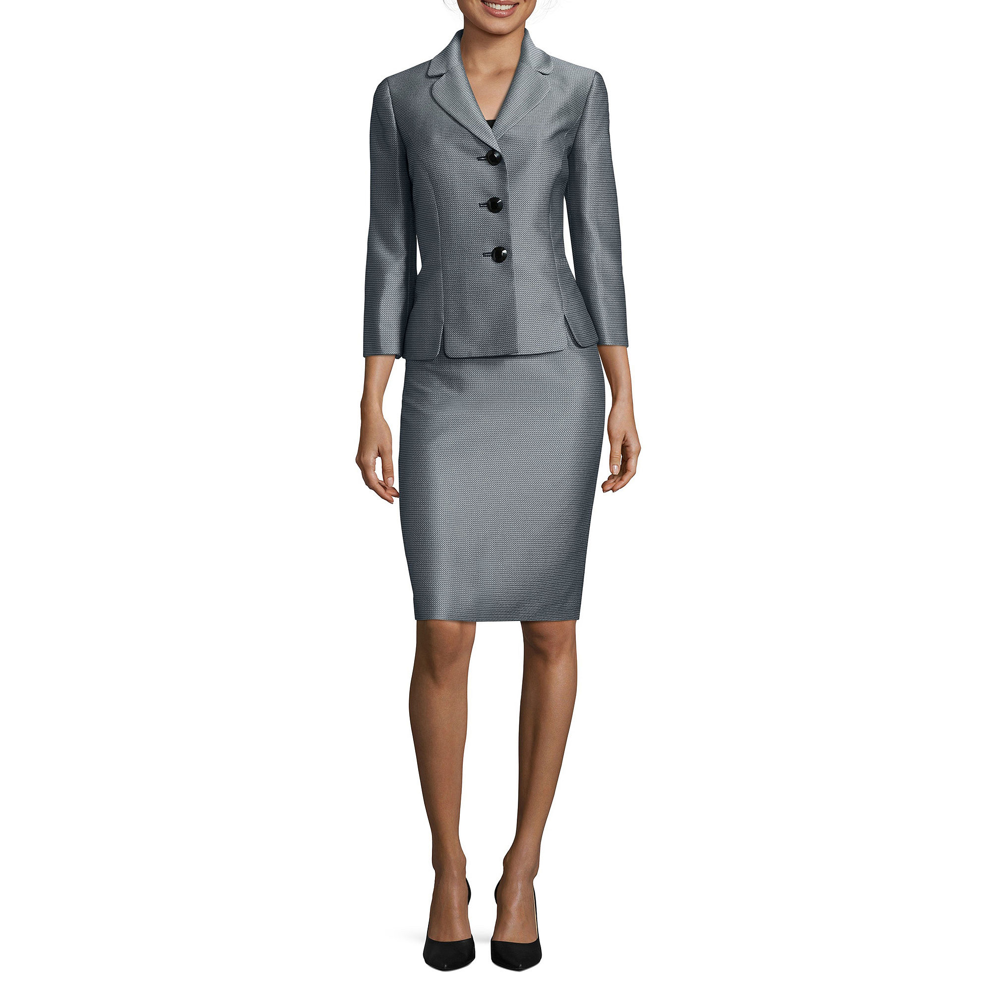 Le Suit 3/4-Sleeve Mini Herringbone 3-Button Jacket Skirt Suit plus size,  plus size fashion plus size appare