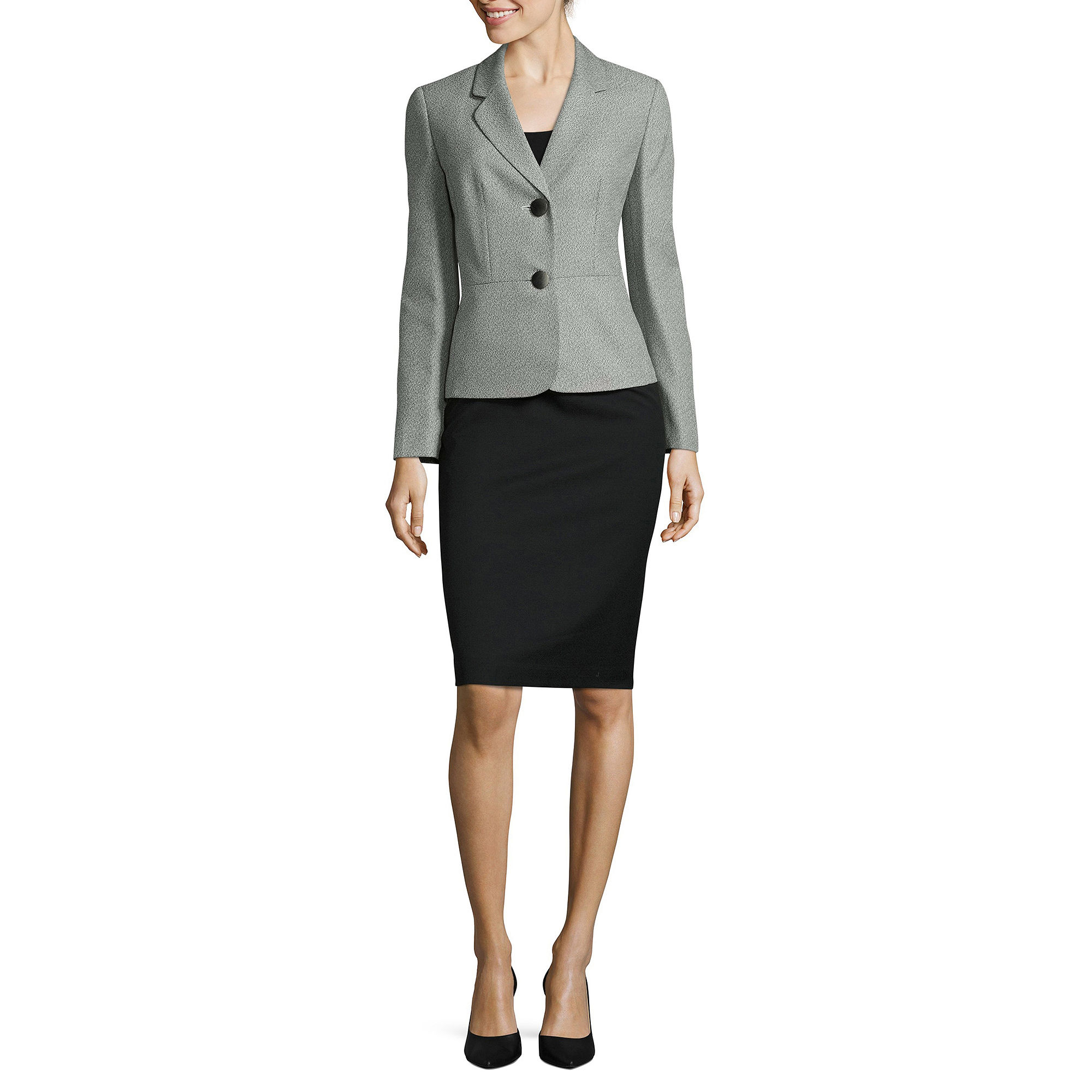 Le Suit Tweed 2-Button Jacket Skirt Suit plus size,  plus size fashion plus size appare