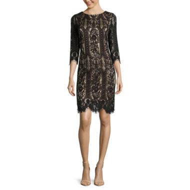jcpenney.com | RN Studio by Ronni Nicole 3/4-Sleeve Graphic Lace Sheath Dress