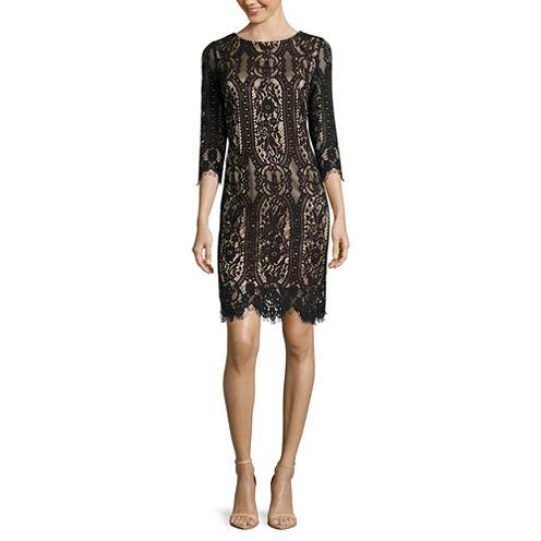 RN Studio by Ronni Nicole 3/4-Sleeve Graphic Lace Sheath Dress