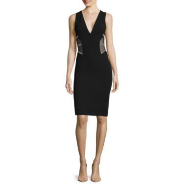 jcpenney.com | Renn® Sleeveless Sheer-Inset Rhinestone-Trim Sheath Dress