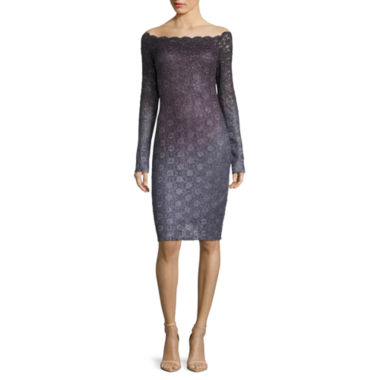 jcpenney.com | Blue Sage Long-Sleeve Ombre Off-the-Shoulder Lace Sheath Dress