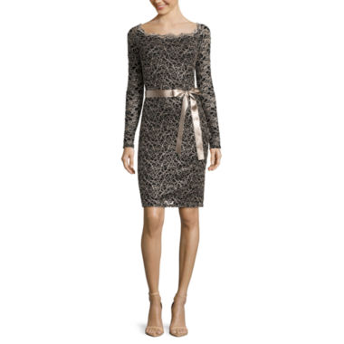 jcpenney.com | Blue Sage Long-Sleeve Lace Sheath Dress with Ribbon Belt