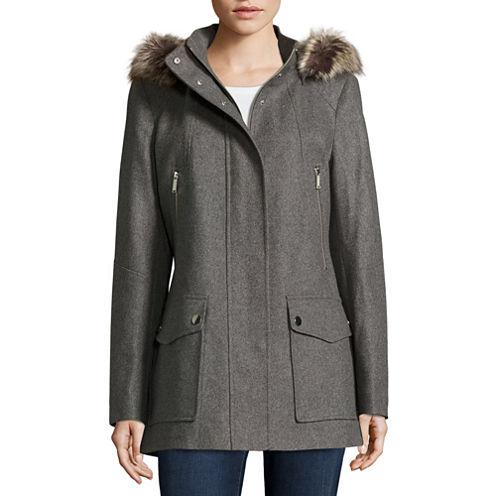 a.n.a® Faux-Fur Trim Casual Zip Wool-Blend Coat - Tall