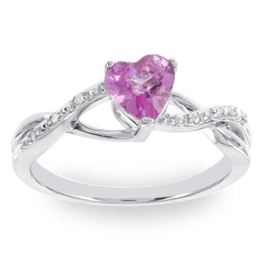 jcpenney.com | Womens Diamond Accent Pink Sapphire Sterling Silver Cocktail Ring
