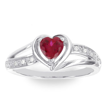jcpenney.com | Womens Diamond Accent Red Lab-Created Ruby Sterling Silver Cocktail Ring