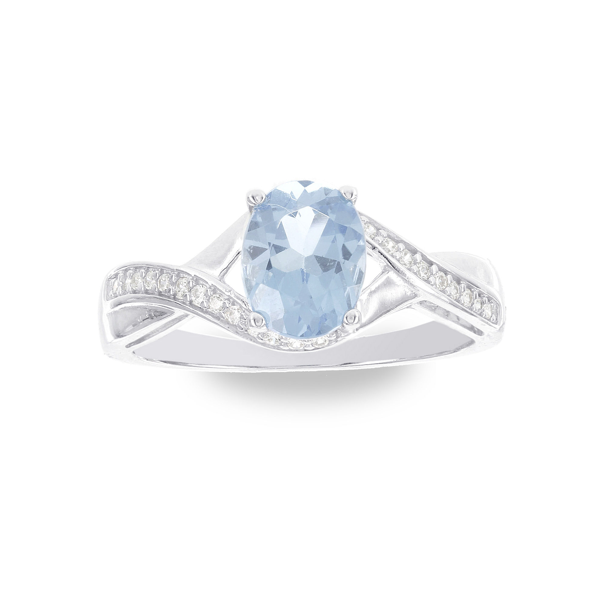 1/8 CT. T.W. Blue Topaz 14K Gold Cocktail Ring