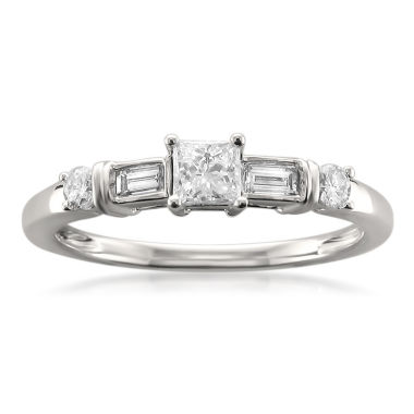 jcpenney.com | Womens 1/2 CT. T.W. Princess White Diamond 14K Gold Engagement Ring