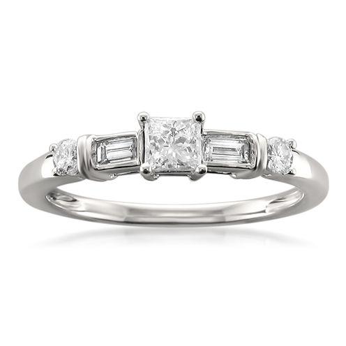 Womens 1/2 CT. T.W. Princess White Diamond 14K Gold Engagement Ring