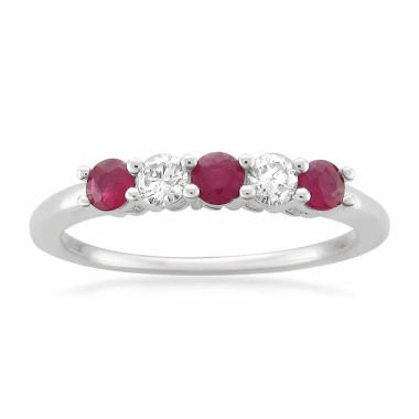 jcpenney.com | Womens 1/5 CT. T.W. Red Ruby Platinum Wedding Band