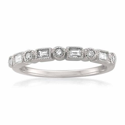 Womens 1/6 CT. T.W. White Diamond 14K Gold Wedding Band