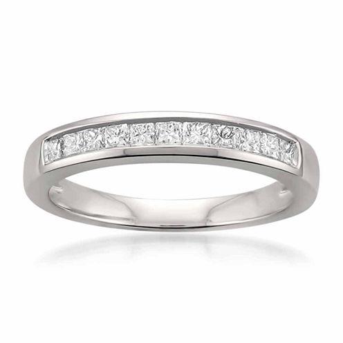 Womens 1/2 CT. T.W. White Diamond Platinum Wedding Band
