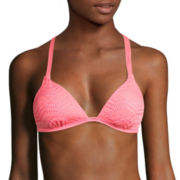 Arizona Art Deco Coral Molded Cup Push-Up Swim Top - Juniors