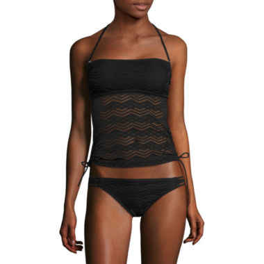 jcpenney.com | Arizona Art Deco Black Bandeaukini Swim Top or Crochet Hipster Swim Bottoms