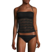 Arizona Art Deco Black Bandeaukini Swim Top