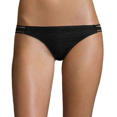 Arizona Mix & Match Art Deco Black Crochet Hipster Swim Bottoms